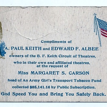 1900 A. Paul Keith & Eward F. Albee Vaudeville Army Girls Trans Tabacco Ephemera  - Cards