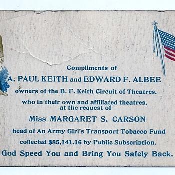 1900 A. Paul Keith & Eward F. Albee Vaudeville Army Girls Trans Tabacco Ephemera