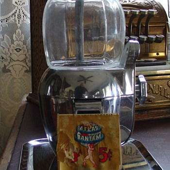 1947...Atlas Bantam...Five Cent Peanut Machine...With Tray...And Key - Coin Operated