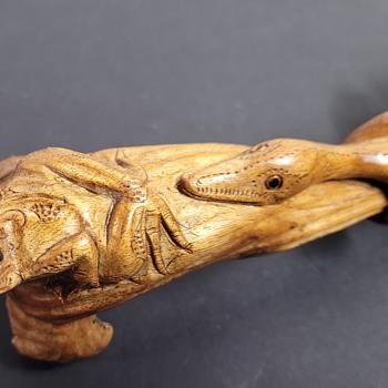 Wood Carved Frog & Snake - Folk Art