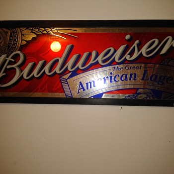 Budweiser The Great American Lager mirror and lights - Advertising
