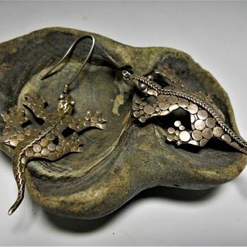 Vintage Sterling Lizard Earring Set - Fine Jewelry