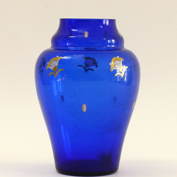 Blue vase with enameled flowers and dots - Art Glass
