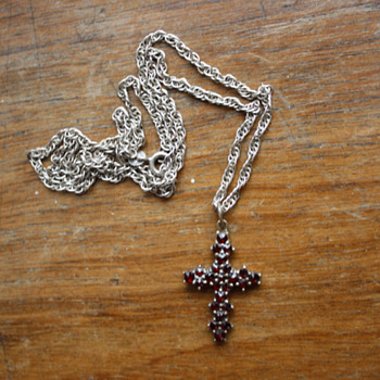 Vintage bohenian garnet cross pendant - Costume Jewelry
