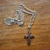 Vintage bohenian garnet cross pendant
