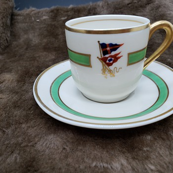 Yacht Club demitasse cups/saucers- mark reads Shaw - China and Dinnerware
