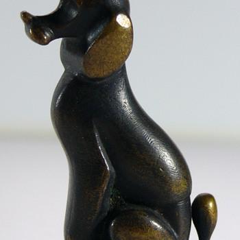 Richard Rohac vienna bronze dog & czech miniature glass dachshund - Art Deco
