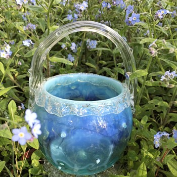 Victorian opalescent glass basket with rustic thorns - & something else blue... - Art Glass