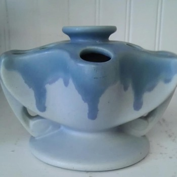 Roseville Carnelian-  flower frog/ candle holder - Pottery