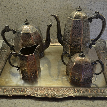 Silver plated on copper tea and coffee set