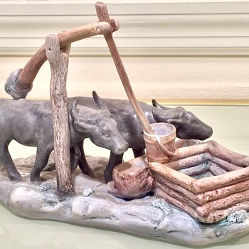 Porcelain Figurine Water Buffalo at Trough Signed Made By ?? - Animals