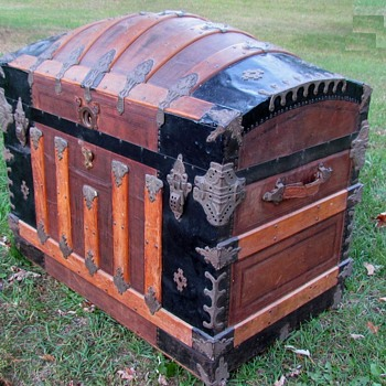 Ornate Leather Dome Top Trunk - Furniture