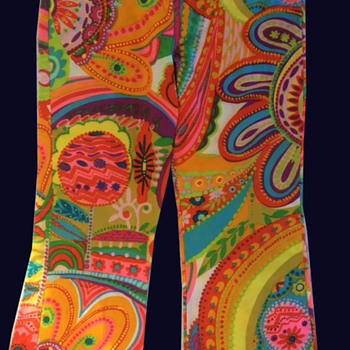 "Vintage Psychedelic Bell Bottom Pants circa 1960s ""ITs APROPOS. MIAMI"" Label - Womens Clothing"
