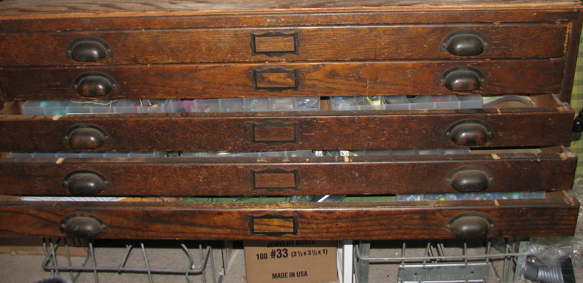 Gorgeous Antique Dark Oak Architect's Flat File Cabinet ...