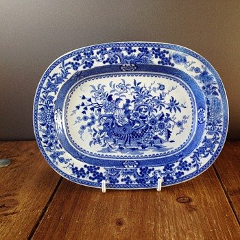 Antique Blue & White Floral Miniature Platter - Spode? - China and Dinnerware
