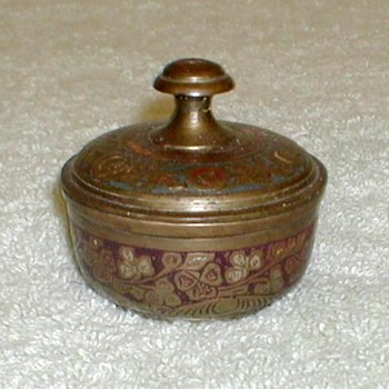 Painted Brass Bowl with Lid