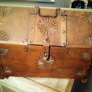 Hand carved metal strap chest - Furniture
