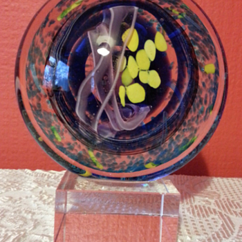Unknown Large Art Glass Disc Sculpture  - Art Glass