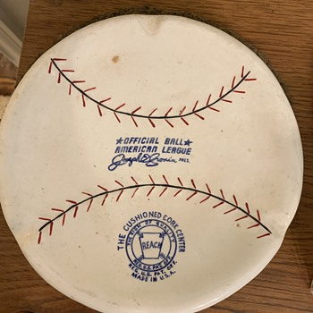 1950's Spalding Baseball shaped Ceramic Ashtray  - Baseball