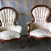 Antique French Victorian Round Back His and Hers Chairs