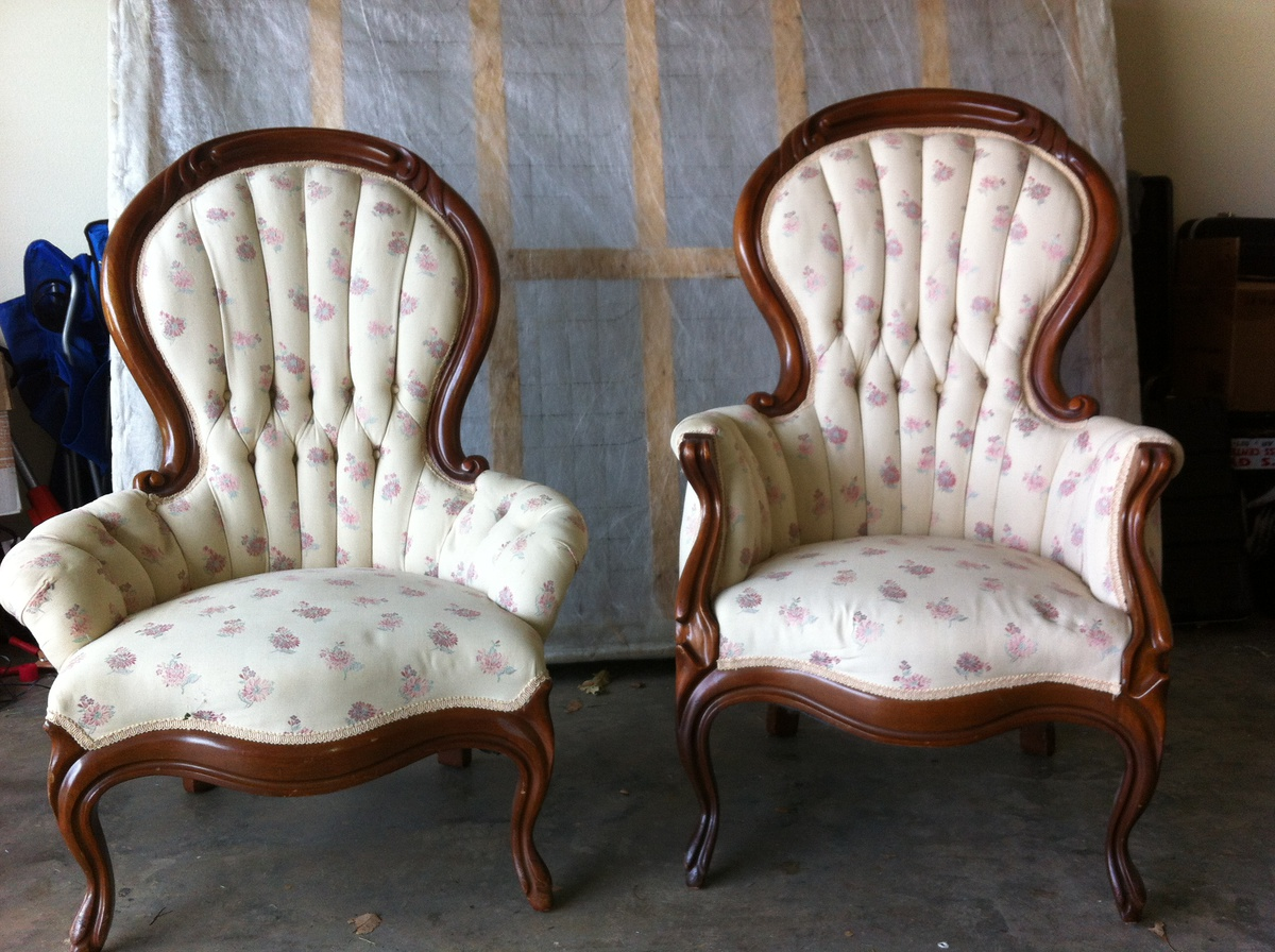 Antique French Victorian Round Back His And Hers Chairs | Collectors Weekly