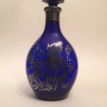 Cobalt Pinch Decanter with Sterling Overlay - Art Glass