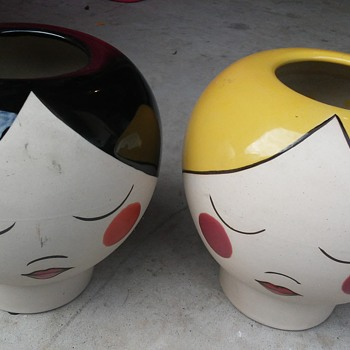 Brunette & Blonde Lady. 'Head' Vases - Pottery