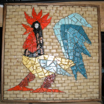 Broken Glass & Glass 'Brick' Folk Art Rooster Wall Art - Folk Art
