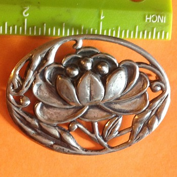 Repousse Water Lily Sterling Brooch - Fine Jewelry