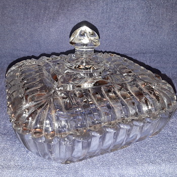 old pressed glass lidded candy dish - Glassware