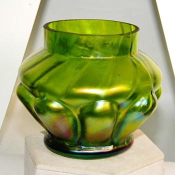 Art Nouveau Kralik Green Purple Iridescent Vase $25.00 - Art Nouveau