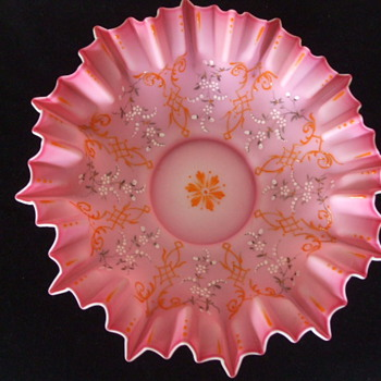 Large Pink Enamelled BRIDE'S BASKET Bowl Only- Who Made it? - Art Glass