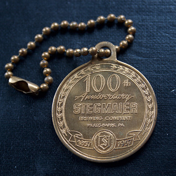 Centennial Keychain from The Stegmaier Brewing Company 1957  - Breweriana