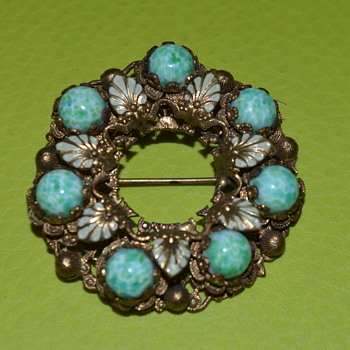 Peking glass? filigree brooch - Neiger? - Costume Jewelry