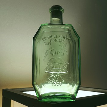 1967 Anchor Hocking Connellsville Flask Bottle Laurel Highlands Embossed Green Commemorative Vintage Pennsylvania - Bottles