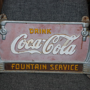Cola Cola cast iron sign Fountain Service! - Coca-Cola