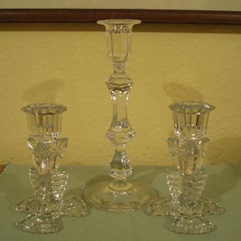 Art Deco Glass Candlesticks - Art Deco