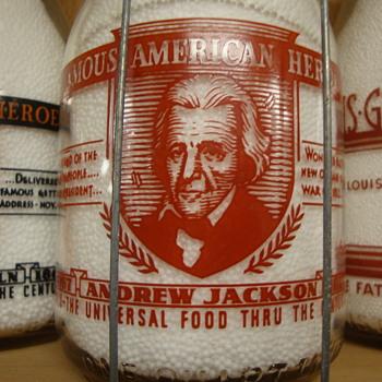 """JOHNSTOWN DAIRY..JOHNSTOWN PENNSYLVANIA...""""ANDREW JACKSON..FAMOUS AMERICAN HEROES"""" MILK BOTTLE - Bottles"""