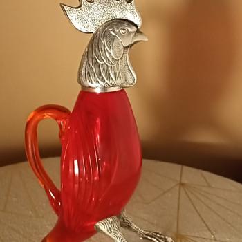 Claret Jug spanish alpaca & glass rooster - Art Glass