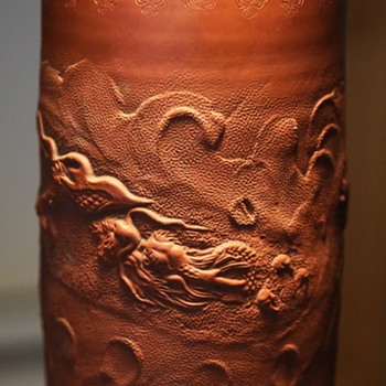 Large Japanese Tokoname Vase with Dragons in Clouds - Asian