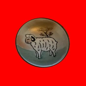 "Sheep themed Japanese Kutani ""tea"" bowl - Asian"