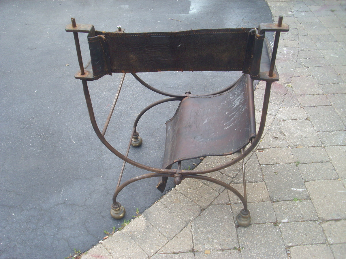 Wrought Iron Amp Leather Folding Directors Chair