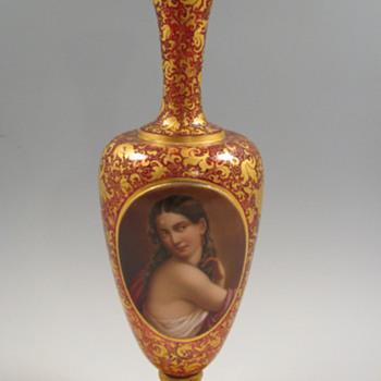 """Antique Bohemian Art Glass 15"""" Vase w/ Portrait Medallion - Art Glass"""
