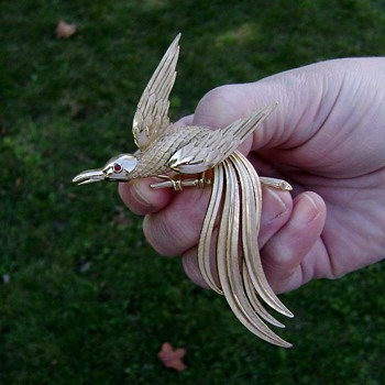 Trifari Bird of Paradise Brooch - Birds of Fashion Collection - Costume Jewelry