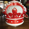 "1930's - 1940's Original Red Crown ""Standard Oil Co."" one-piece milk glass gas globe with collar"