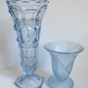 Blue Pressed glass Vases - Glassware