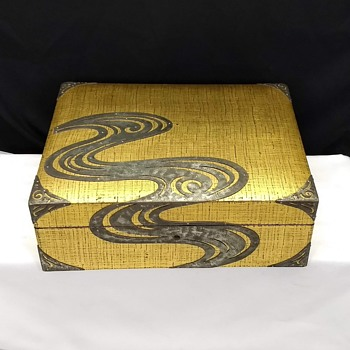 Antique Japanese Art Deco Lacquer over Cloth Wood Keepsake Jewelry Box - Asian