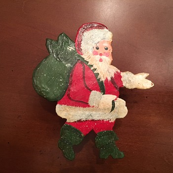 Vintage 50s or 60s Hand Painted Santa Claus Napkin Holder - Christmas