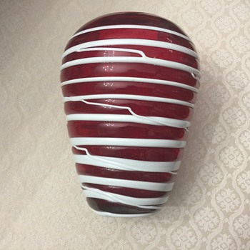 Glass red and white vase - Art Glass