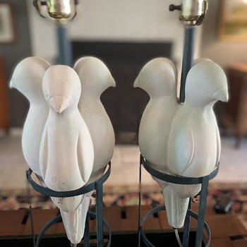 Pair of plaster parrot lamps on metal base - Lamps